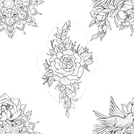 Seamless pattern peony with ornament and bird with mandala on white background.