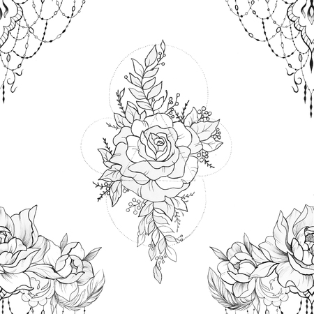 Seamless pattern peony with beautiful ornament on white background.