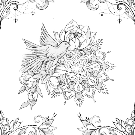 Seamless pattern of a beautiful ornament and bird with a mandala on a white background.