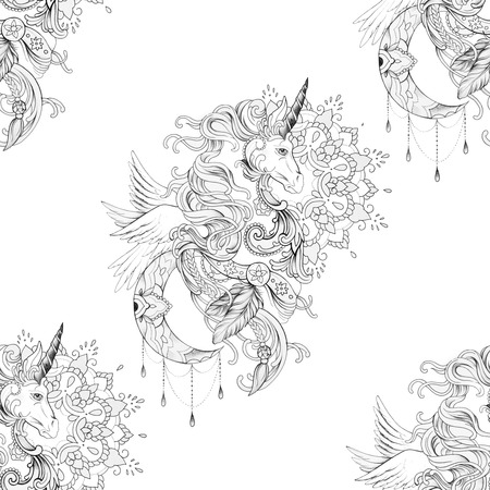 Seamless pattern beautiful pegasus in ornament with mandala on white background.