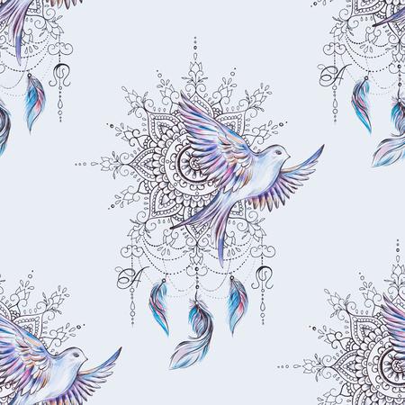 Seamless pattern dreamcatcher and bird on white background.