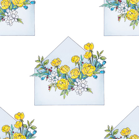 Seamless illustration of an envelope with flowers on a white background.