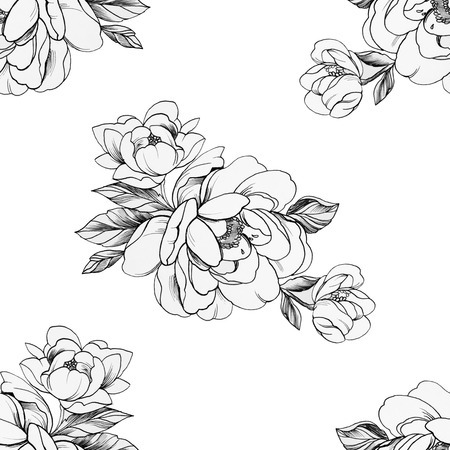 Seamless pattern of beautiful peonies on a white background.