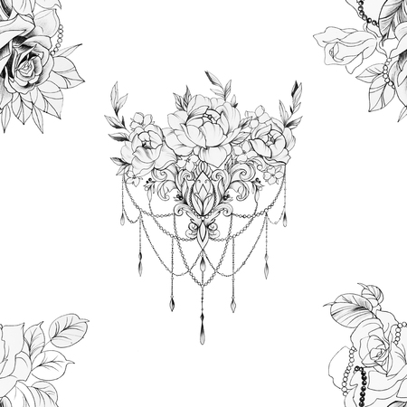 Seamless pattern of beautiful flowers with ornament on a white background. Standard-Bild