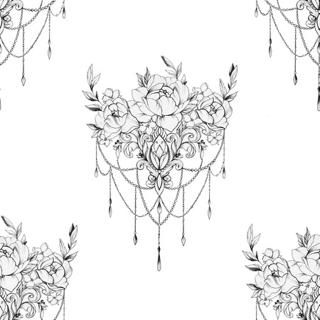 Seamless pattern peony with ornament on a white background.