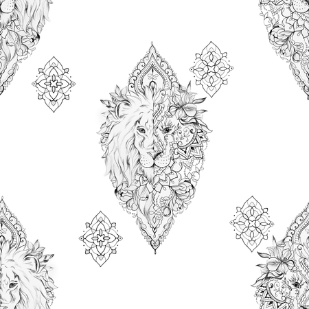 Seamless drawing of a lion on a white background.