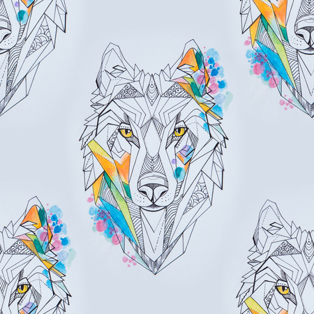 Seamless drawing of a wolf head on a white background.