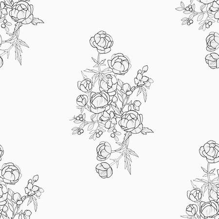 Seamless pattern of beautiful flowers on a white background. Standard-Bild