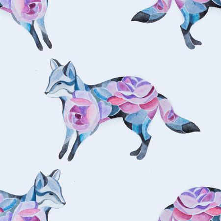 Seamless fox pattern in flowers on a white background. Standard-Bild