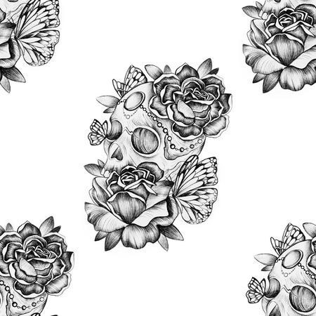 Seamless skull pattern with roses on a white background.