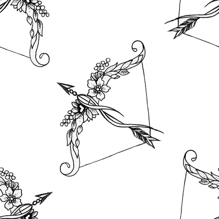 Seamless pattern on a bow and arrow on a white background.