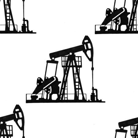 Seamless drawing of oil production on white background.