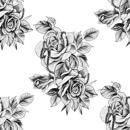 Seamless pattern rose with decoration on a white background.