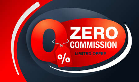 0% zero commission special offer banner template with 3D red zero digit and on modern background - vector promo limited offers flyer
