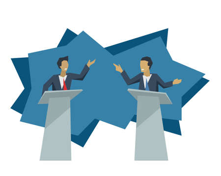 Debate of two politicians - two male persons with violent gesticulation standing on speaking tribunes and argue with each other - vector political illustration