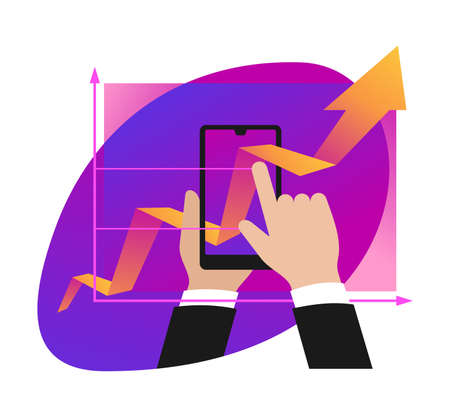 Business report, analytics and modern  technologies concept - from real to digital - growing chart pass through phone screen - conceptual isolated illustration