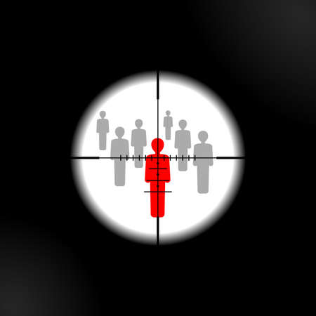 Terrorism danger and War conflict - aiming to people with optical sight - target lens view - vector concept