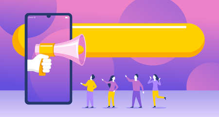 Web internet promo advertising or referral program banner - group of small people stay around phone with loudspeaker and human hand - vector creative illustration
