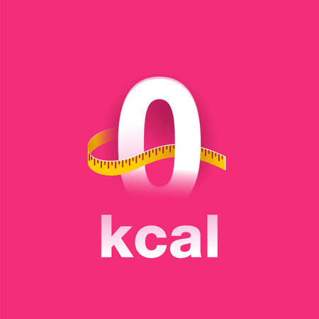 0 kcal banner for advertising of zero calories diet food products - zero sign with measuring tape around