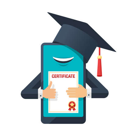 Online education courses concept - webinar studying - graduation certificate (diploma) - smart phone with hands and square academic cap