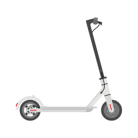 Electric scooter (kick scooter) in side view - isolated vector illustration of eco-friendly transport Illustration