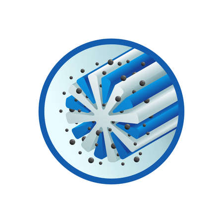 Microfiber action 3D icon - microfibre structure emblem that shows the dust absorbing properties of synthetic fiber - isolated vector sign