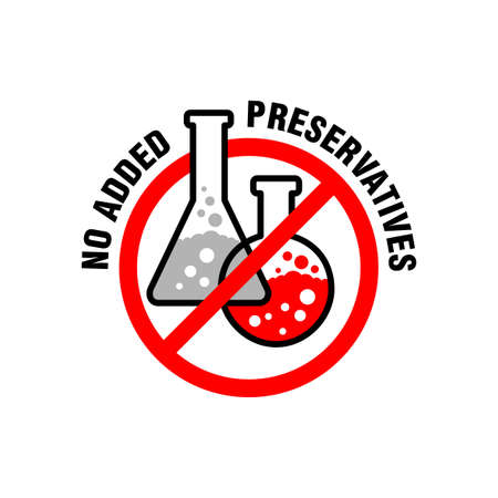 No added preservatives label for healthy products of biologically active additives, food, cosmetics - vector label