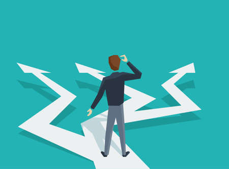 Man in low poly style at crossroads before important choice (correct decision choosing) - vector illustration for business concept or political voting Illustration