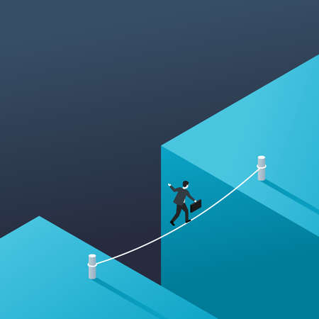 Business risk and dangerous management strategy concept - businessman walks over gap as tightrope walker - isometric conceptual illustration for banner or poster