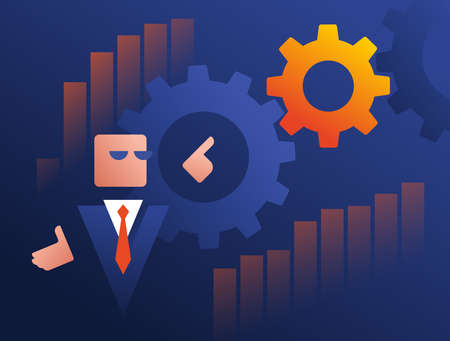 Webinar and business marketing learning concept - abstract businessman explains the data graphs and gears shown on the board - conceptual vector illustration