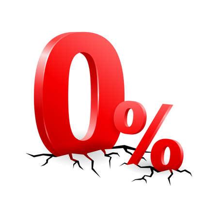 0 - zero percents 3D symbols on cracked surface - isolated vector element for credit or discount program Illusztráció