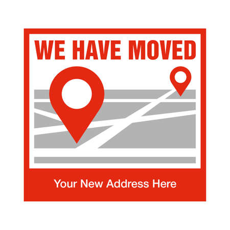 We Have Moved information sticker for office or shop that relocated to different address