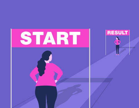Weight loss before and after concept - illustration for diet program, fasting, liposuction, fitness - eliminating the problem of excess weight Illustration