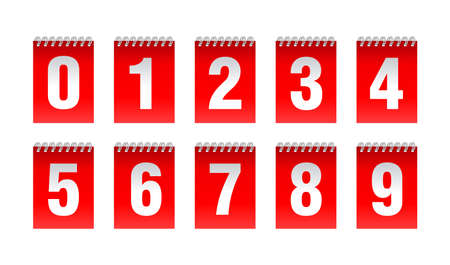 Countdown clock with binding spring - vector digits - red counter timer, time remaining count down scoreboard in flip board with different digits from 0 to 9