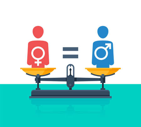 Gender equality concept - weighing scales - balanced people icons with Mars and Venus symbols inside (sign of male and female gender) - vector picture of human rights and values Vetores