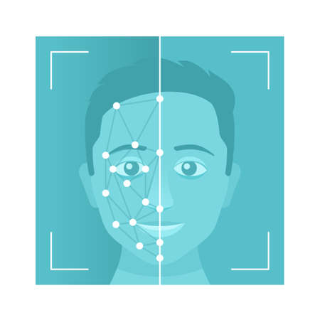 Facial recognition system - modern identifying technology - vector illustration