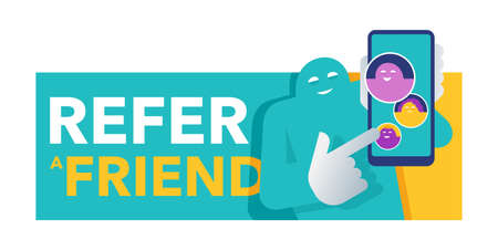 Refer a friend - referral program creative banner - absctract character holding phone and shows his friends (people icons, avatars) - vector illustration or web button
