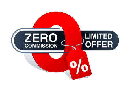 Zero percent commission banner template - in cartoon decoration with tag and place for sample text - isolated vector promo poster or web element