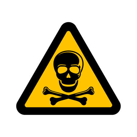 Danger sign - human skull in yellow triangle - for restricted dangerous zone or poisonous materials - isolated vector emblem Ilustração
