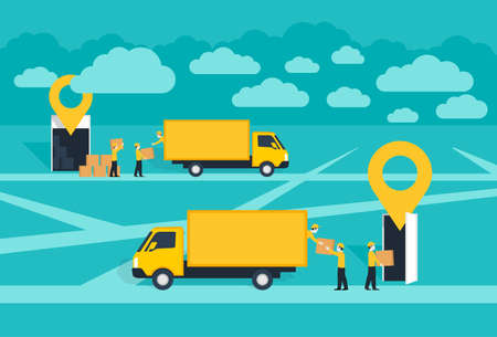 Door-to-door delivery service conceptual illustration - cargo truck shipment with loaders team from warehouse to destination point with geolocation pins (GPS marks) upside dispatch and delivery points Ilustración de vector
