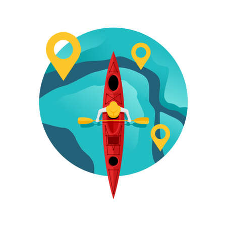 Kayaking competition  - river route with gps pins and kayak boat with oarsmen in top view - isolated vector tournament emblem or icon template