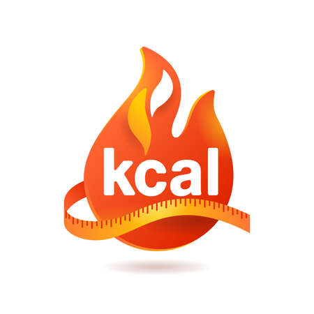 kcal icon - kilocalorie symbolic emblem for food products cover designation - fat burning visual - isolated vector element