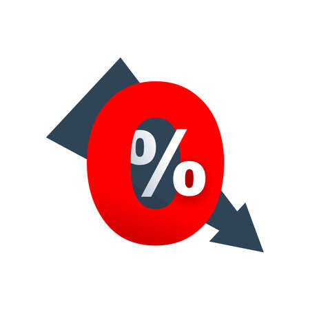 0 percent - zero percent sticker with arrow down - credit without commission symbol Illustration