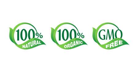 100 natural, 100 organic, GMO free - mark for healthy food, vegetarian nutrition - vector sticker set Ilustracja