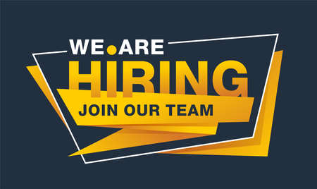 We Are Hiring - Join Our Team creative and catchy banner template - slogan inside angular frame - vector promo element Vector Illustration