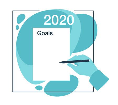 2020 New Year goals wishlist template - empty paper page in abstract decoration and human hand holding a pen - isolated vector concept