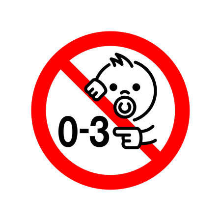 Not suitable for children under 3 years prohibition sign with crossed out little baby face and 0-3 - isolated vector information sign