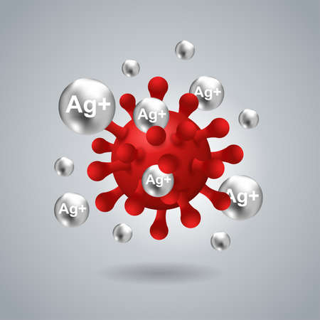 Silver ions Ag action 3D picture - antibacterial effect of ion solution - science, chemistry and technology illustration