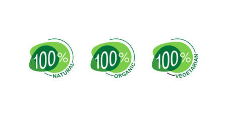 100 percants natural, 100 organic, 100 vegan - mark for healthy food, vegetarian nutrition - vector sticker set