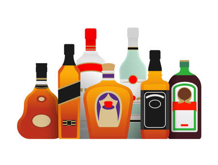 Strong alcohol bottles collection in different design Ilustracje wektorowe